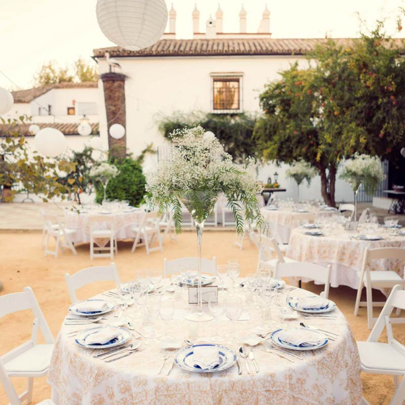 Dinertafels trouwlocatie Fain Viejo Spanje