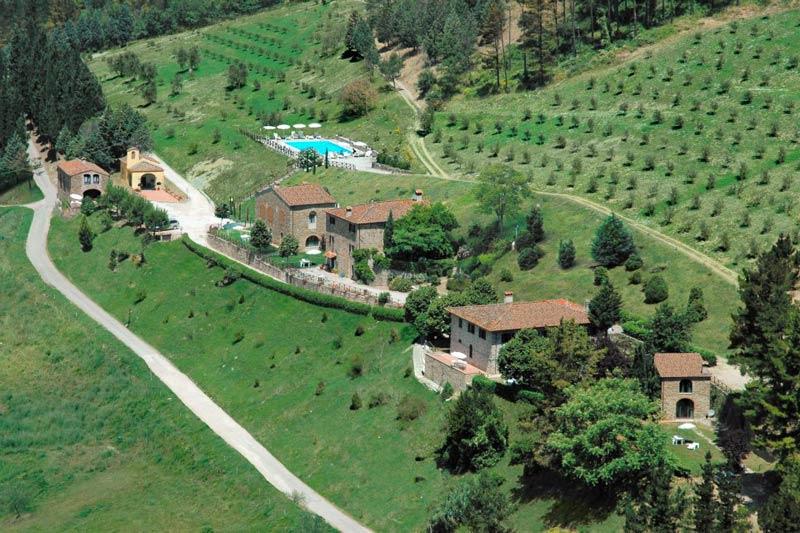 Overzichtsfoto trouwlocatie Fattoria il Lago in Italië