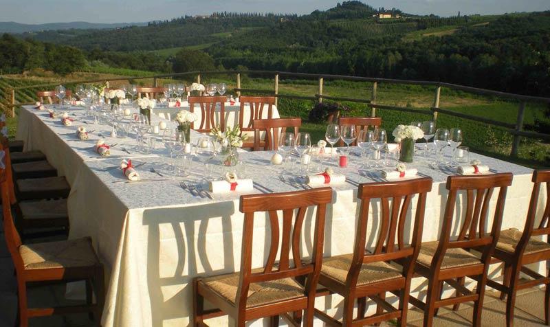 Dinertafel trouwlocatie Lucciolaia in Italië