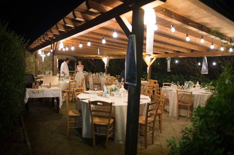 Diner trouwlocatie Podere Il Pino in Toscane