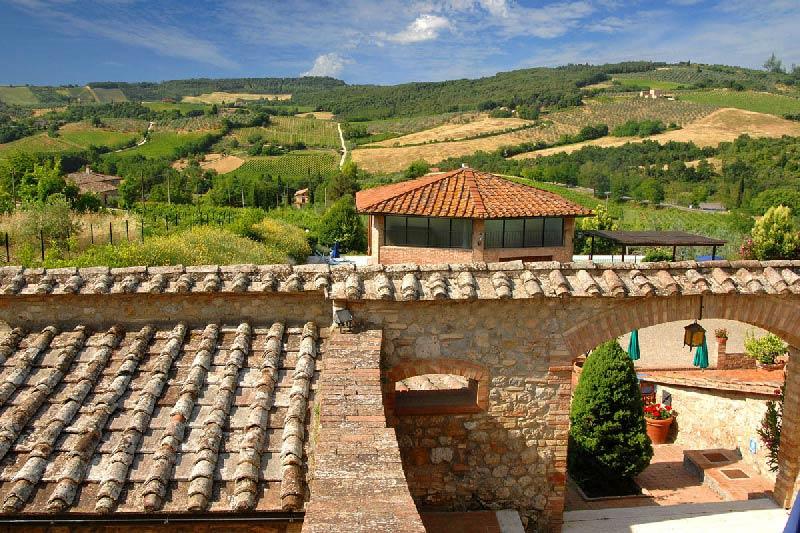 Uitzicht vanaf kamer trouwlocatie Villa Palagetto in Toscane