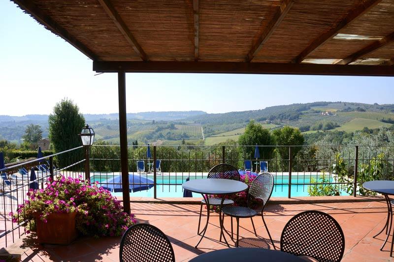Zwembad en terras trouwlocatie villa Palagetto Toscane