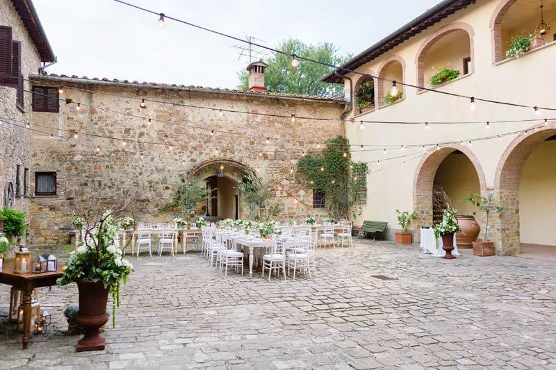 Dinersetting trouwlocatie Quercia al Poggio in Toscane