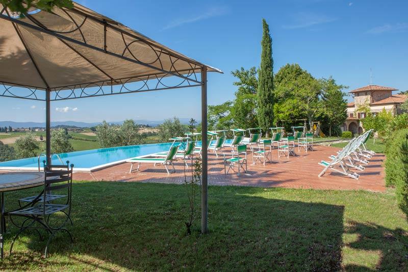 Overloopzwembad trouwlocatie Quercia al Poggio in Italie
