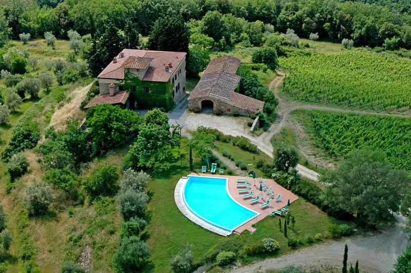 Luchtfoto trouwlocatie Quercia al Poggio in Toscane