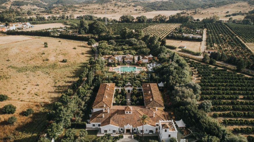Trouwlocatie Finca Monasterio in Spanje luchtview