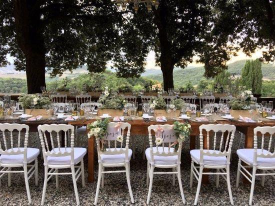 Tafelstyling trouwlocatie Tenuta Mocajo Italie