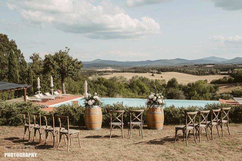Ceremoniesetting Tenuta di Papena trouwlocatie Toscane