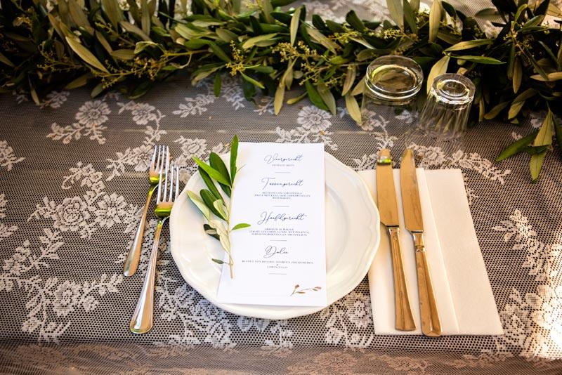 Tafeldecoratie trouwlocatie Villa Marsi in Italie