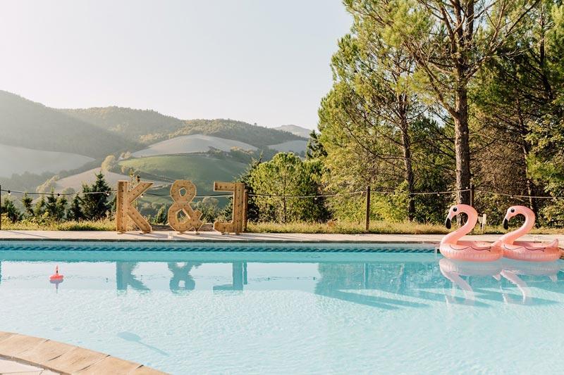 Zwembad trouwlocatie Villa Marsi Italie