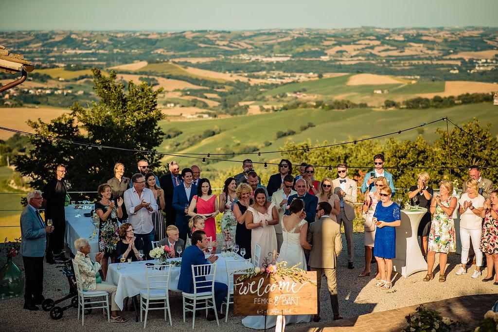 Diner met uitzicht trouwlocatie Italië